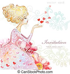 watercolor greeting card with beautiful girl for your design