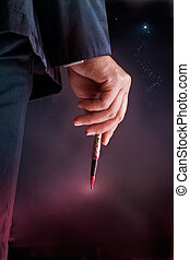 Businessman see the star target and hold pen be stained with...