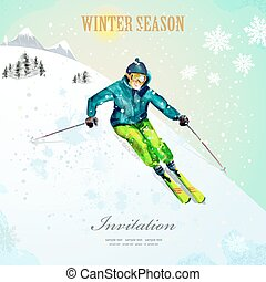 Winter sport girl skiing at ski resort watercolor vintage...