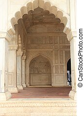 Agra red Fort, Uttar Pradesh, India - marble temple inside...