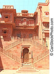 Junagarh red Fort Bikaner rajasthan india - inside view of...