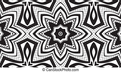 Kaleidoscope loop - Abstract black and white video clip with...