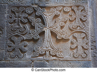 Cross-stone on the wall - Cross stone on the wall of...