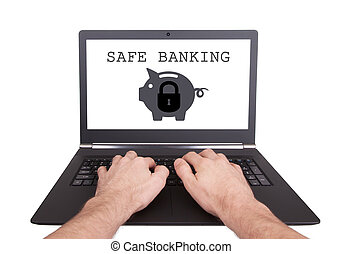 Man working on laptop, safe banking