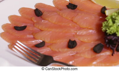Slices of red fish - Set chopped red fish with greens
