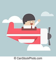 Businessman flying with private jet