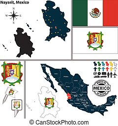 Map of Nayarit, Mexico - Vector map of state Nayarit with...