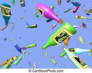 Flying bottles generated 3D background