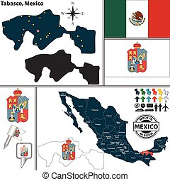 Map of Tabasco, Mexico - Vector map of state Tabasco with...
