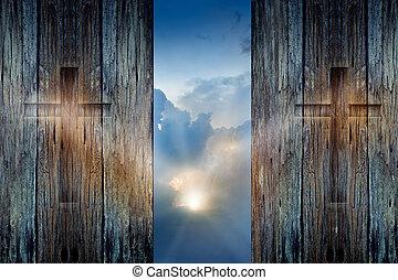 cruz, en, el, madera, pared, y, esperanza, rayo de sol,