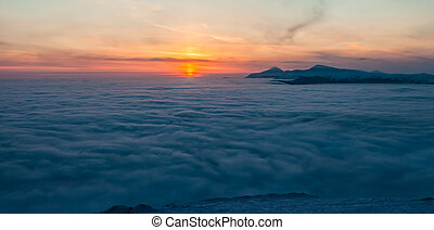 Mountain above the clouds. Ukraine