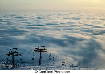 Mountain above the clouds Ukraine