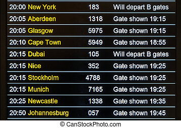 Flights departures board