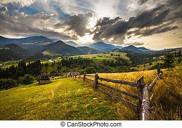 Summer landscape Blue sky, mountains - Summer landscape...