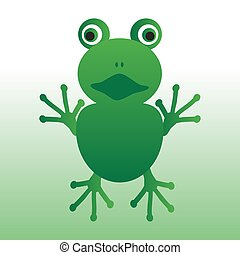 isolated green frog animal looks at you eps10