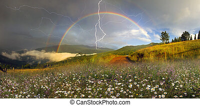 panorama of mountain meadows in Transcarpathia - Beauty...