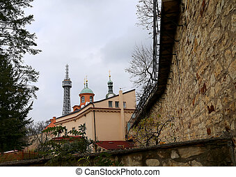 Lookout tower and church of St.Lawrence on the Petrin Hill...