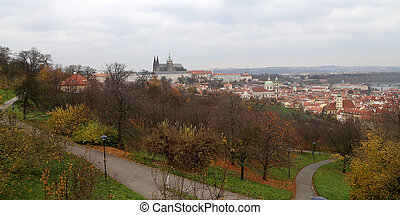 View of Prague Castle and St.Vitus cathedral from Petrin...