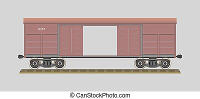 Boxcar. %u0421overed wagon. Vector illustration. EPS 10....