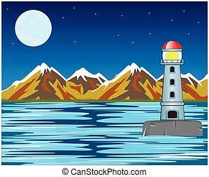 Vector lighthouse by night