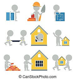 Flat people - construction - Flat people. Collection of flat...