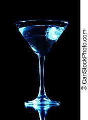 blue drink on black background