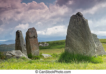 Standing stones Outer Hebrides - Megalithic stone circle of...