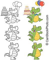 Crocodile Character 3 Collection - Crocodile Cartoon Mascot...