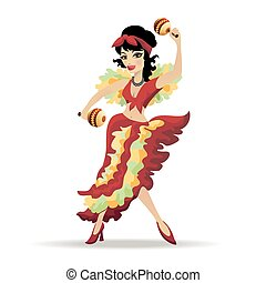 Latina beautiful girl dancing with maracas - Illustration of...
