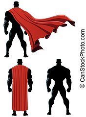 Superhero Back Isolated - Back of superhero over white...