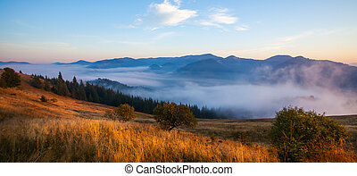 Majestic sunset in the mountains landscapeCarpathian,...