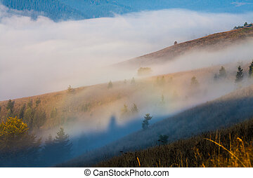 Majestic sunset in the mountains landscape.Carpathian,...