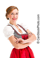 Bavarian girl isolated over white background - Beautiful...