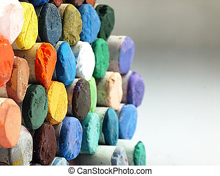 Colored dry pastel crayons closely - Pastel crayons The...