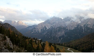 Italian Dolomiti alps mountain during sunset