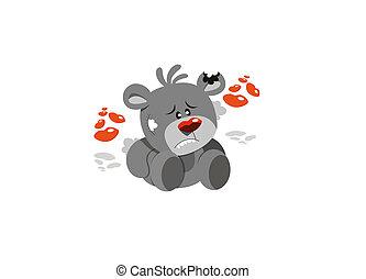 lindo, gris, cupido, teddy, oso, con, rojo,