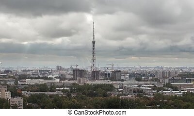 St. Petersburg cloudy day time lapse. - Aerial view of city...