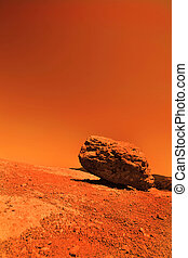 Space exploration - View of the red terrestrial planet