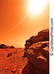 Unknown planet - View of the red terrestrial planet