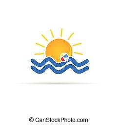 sun icon with beach ball color vector