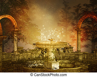 magical fountain - fantasy illustration of a magical night