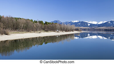 Water landscape - Water reflection at reservoir Liptovska...