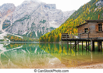 Lake braies in south tyrol, italy