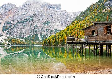 Lake braies in south tyrol, italy