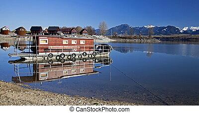 Houseboat on lake - Houseboat on reservoir Liptovska Mara,...