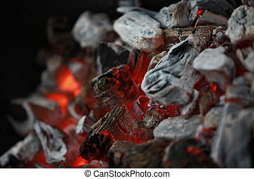 fireplace burning charcoal