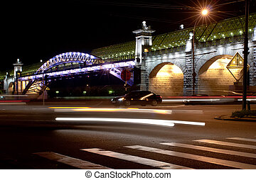 night view bridge in the Moscow - night view Andreevsky...