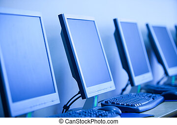 computer lab, small depth sharpness, can be used as...