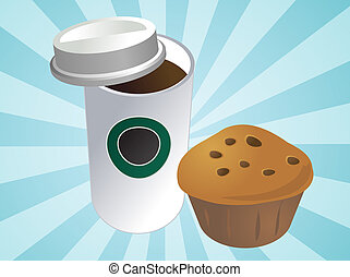 Coffee and muffin - Coffe in disposable cup with muffin...
