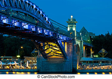 Andreevsky Bridge in to night - Moscow, Russia, Andreevsky...